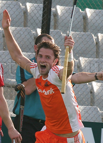 13.03.2010. Delhi,India. FIH World Cup Field Hockey. Netherlands Rogier Hofman celebrate after scoring goal against England at the World Cup 2010 match at the Major Dhyan Chand Stadium in New Delhi. Photo: Pankaj Nangia/Actionplus - Editorial Use