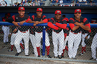 Batavia Muckdogs Jeremy Ovalle (31), Manuel Rodriguez (47), Eliezer Cuello (40), and Nestor Bautista (39) before a game against the Auburn Doubledays on June 19, 2017 at Dwyer Stadium in Batavia, New York.  Batavia defeated Auburn 8-2 in both teams opening game of the season.  (Mike Janes/Four Seam Images)