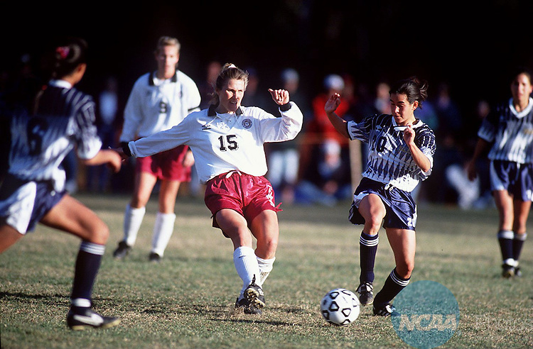 Caption: Franklin Pierceâ Susanne Bergstrom (#15, left) battles Regis Unversityâ Lisa Shneskloth for the ball at the Division II Womenâ Soccer Championship November 13, 1994, in Rindge, New Hampshire. Franklin Pierce won the championship 2-0. Photo by Winslow W. Townson/NCAA Photos.