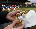 The East Stirlingshire pie. 2/10 for getting the shape right. No points for taste. Is there any meat in it at all?