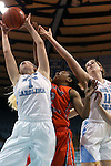 02 November 2016: North Carolina's Taylor Koenen (1) grabs a rebound from Carson-Newman's Briana Smith (2) and North Carolina's Emily Sullivan (11). The University of North Carolina Tar Heels hosted the Carson-Newman University Lady Eagles at Carmichael Arena in Chapel Hill, North Carolina in a 2016-17 NCAA Women's Basketball exhibition game. UNC won the game 96-70.