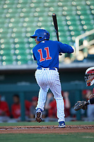 AZL Cubs 1 Pedro Martinez (11) at bat during an Arizona League game against the AZL Angels on June 24, 2019 at Sloan Park in Mesa, Arizona. AZL Cubs 1 defeated the AZL Angels 12-0. (Zachary Lucy / Four Seam Images)