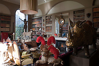 The library at Aynhoe Park houses part of an extraordinary collection of taxidermy amongst many other eclectic objects