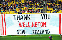 A tribute banner is displayed during the Australian Rules Football ANZAC Day match between St Kilda Saints and Sydney Swans at Westpac Stadium, Wellington, New Zealand on Thursday, 24 May 2013. Photo: Dave Lintott / lintottphoto.co.nz