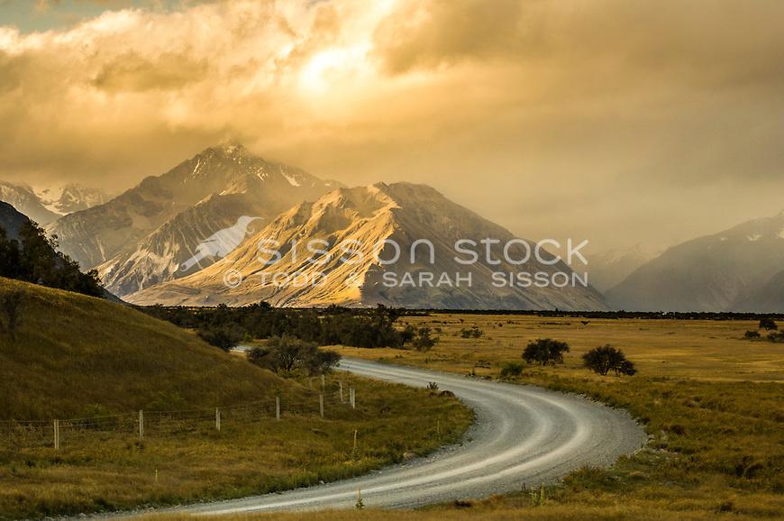Spectacular sunset light, Southern Alps. Road to Mesopotamia Station, Rangitata Valley. Canterbury NZ
