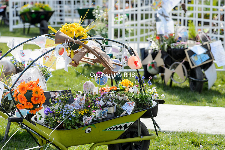 General wide shot of the Schools Wheelbarrow Competition at the RHS Show Cardiff 2016.