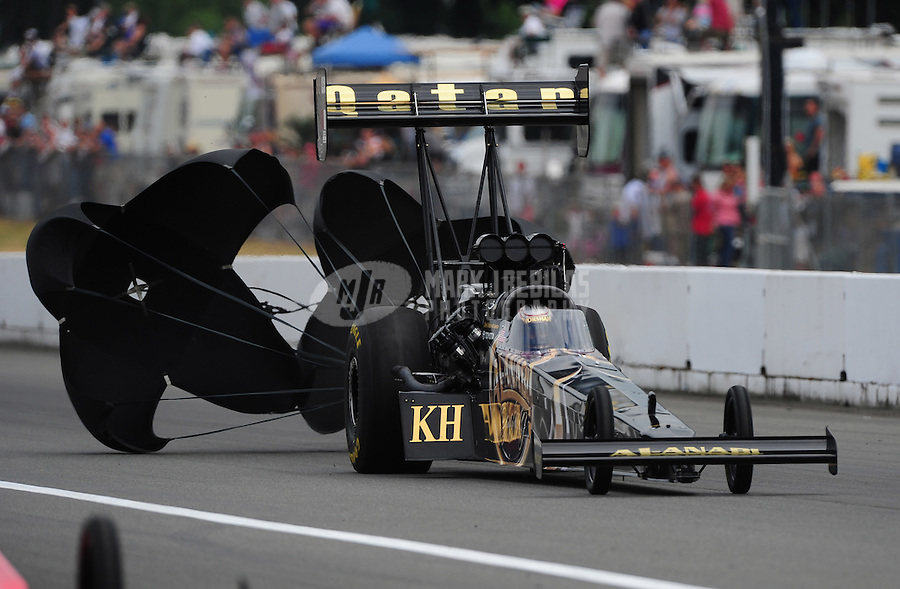 Aug. 6, 2011; Kent, WA, USA; NHRA top fuel dragster driver Del Worsham during qualifying for the Northwest Nationals at Pacific Raceways. Mandatory Credit: Mark J. Rebilas-