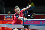 Wales Chloe Thomas in action during her doubles match with Wales Anna Hursey<br /> <br /> *This image must be credited to Ian Cook Sportingwales and can only be used in conjunction with this event only*<br /> <br /> 21st Commonwealth Games - Table tennis -  Day 2 - 06\04\2018 - Oxenford - Gold Coast City - Australia