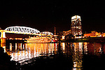 Nashville Riverfront and riverboat reflection at night