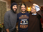 Josh Groban, Lin-Manuel Miranda and Cate Blanchett  during the cast of 'Hamilton' 2016 Door Decorating Competition at Richard Rodgers Theatre on December 23, 2016 in New York City.