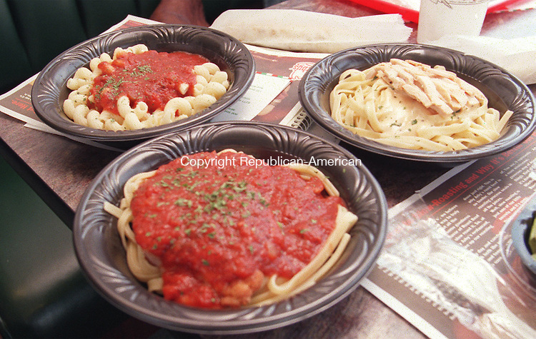 NEWMILFORD, CT 8/4/98--0804TK05.tif  (left to right:)A selection of Pasta Favorites prepared at the Pasta Connection of the  Arby's franchise on the Danbury Road in New Milford. --TOM KABELKA staff photo for REPORTERS NAME / STANDALONE PHOTO  (Filed in Scans/Scan-In)