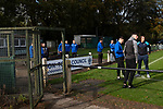 The home players gathering outside the changing rooms before Nelson hosted Daisy Hill in a North West Counties League first division north fixture at Victoria Park. Founded in 1881, the home club were members of the Football League from 1921-31 and has played at their current ground, known as Little Wembley, since 1971. The visitors won this fixture 6-3, watched by an attendance of 78.