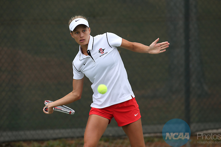 26 APR 2014:  San Diego State University takes on San Jose State University during the 2014 Mountain West Conference Women's Tennis Championship held at the Sierra Sport & Racquet Club in Fresno, CA.  Tomas Ovalle/NCAA Photos