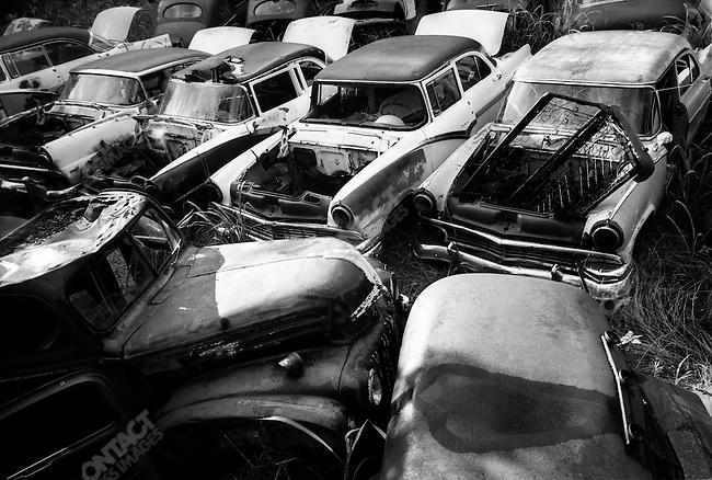 Route 66: Abandonded cars near Amarillo, TX..