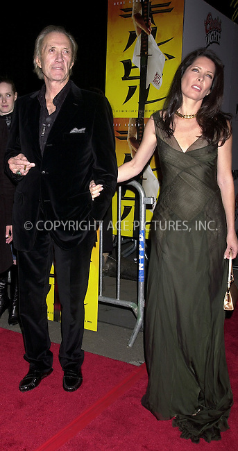 WWW.ACEPIXS.COM................June 4 2009....Actor David Carradine has been found dead in a Hotel in Bankok on June 4 2009 in Thailand.....Picture here with Anne Bierman in 2003 at the premiere of Kill Bill in New York City....Please byline: ACEPIXS.COM  ..  ***  ..Ace Pictures, Inc:  ..tel: (646) 769 0430..e-mail: info@acepixs.com..web: http://www.acepixs.com