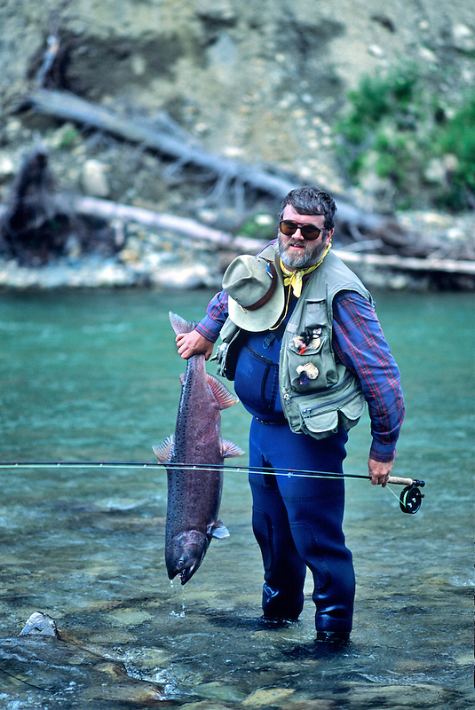 Fisherman with King Salmon. Talachulitna River, Alaska.