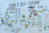 KENYA Turkana, Lodwar, Turkana village Kaitese, children drawing at water tank with slogan water is life / KENIA, Kinderzeichnung Wasser ist Leben