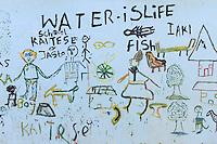 KENYA Turkana, Lodwar, Turkana village Kaitese, children drawing at water tank with slogan water is life / KENIA, Kinderzeichnung Wasser ist Leben