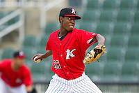 Kannapolis Intimidators starting pitcher Euclides Leyer (26) in action against the Delmarva Shorebirds at CMC-Northeast Stadium on April 15, 2013 in Kannapolis, North Carolina.  The Shorebirds defeated the Intimidators 8-4.  (Brian Westerholt/Four Seam Images)