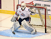 January 9th, 2009:   Goalie Chris Beckford-Tseu of the Rochester Amerks during pre-game warm-up before a game vs. Syracuse Crunch at Blue Cross Arena in Rochester, NY.  Rochester defeated Syracuse 3-1 for their third straight win.  Photo Copyright Mike Janes Photography 2009