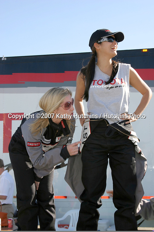 Emily Procter & Kelly Hu.2007 Toyota Pro/Celebrity Race Training.Danny McKeever's Fast Lane Racing School.Willow Springs Race Track.Willow Springs, CA  .March 17, 2007.©2007 Kathy Hutchins / Hutchins Photo....