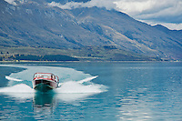Jet boat on Lake Wakatipu, New Zealand