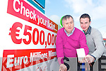 Mike Moriarty and Sean Foley from Moriarty's Centra, Farranfore celebrates on Saturday after they found out that the winning ticket for the Euro Miliions Jackpot was sold in their shop worth half a million....