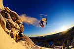 Moment riders sunrise backflip on skis near Mt. Rose.