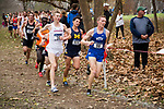 LOUISVILLE, KY - NOVEMBER 18: Austen Dalquist #38 of the University of Arkansas and Daniel Carney #98 of BYU compete during the Division I Men's Cross Country Championship held at E.P. Tom Sawyer Park on November 18, 2017 in Louisville, Kentucky. (Photo by Tim Nwachukwu/NCAA Photos via Getty Images)