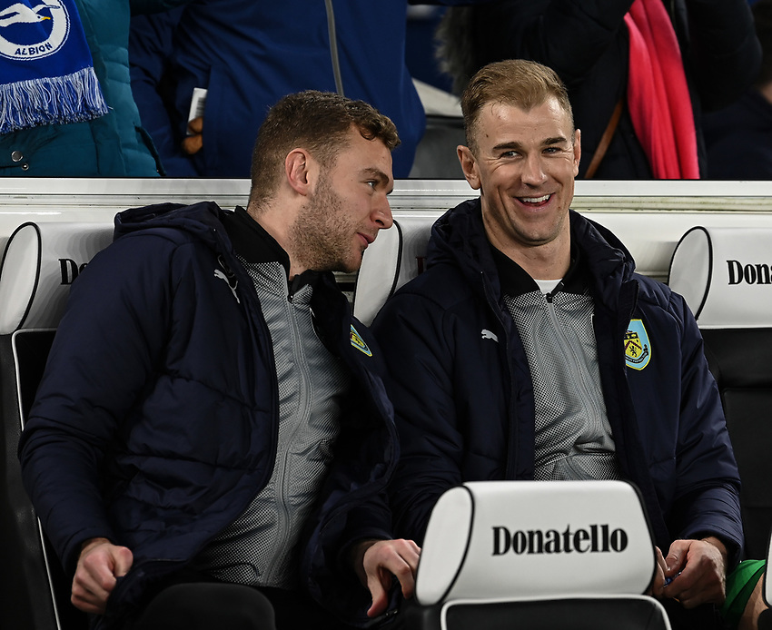 Burnley's Joe Hart (right) <br /> <br /> Photographer David Horton/CameraSport<br /> <br /> The Premier League - Brighton and Hove Albion v Burnley - Saturday 9th February 2019 - The Amex Stadium - Brighton<br /> <br /> World Copyright © 2019 CameraSport. All rights reserved. 43 Linden Ave. Countesthorpe. Leicester. England. LE8 5PG - Tel: +44 (0) 116 277 4147 - admin@camerasport.com - www.camerasport.com
