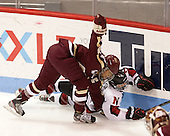 Blake Bolden (BC - 10), Maggie DiMasi (NU - 4) - The Northeastern University Huskies defeated Boston College Eagles 4-3 to repeat as Beanpot champions on Tuesday, February 12, 2013, at Matthews Arena in Boston, Massachusetts.