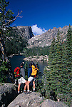 couple, hike, Dream Lake, Hallett Peak, Rocky Mountain National Park, Colorado
