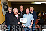 Tom and Jim Coffey, Michael Quilligan, Pat O'Sullivan and Daniel O'Brien at the Killarney Travellers protest meeting in Killarney Friday night