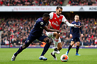 7th March 2020; Emirates Stadium, London, England; English Premier League Football, Arsenal versus West Ham United; Dani Ceballos of Arsenal is under pressure from Jeremy Ngakia of West Ham United
