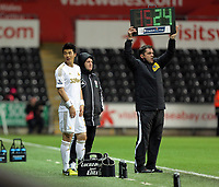 Wednesday, 12 December 2012<br /> Pictured: Ki SUng Yueng of Swansea enters the game as a substitute<br /> Re: Capital One Cup, fifth round, Swansea City FC v Middlesbrough at the Liberty Stadium, south Wales.