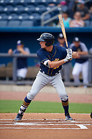Montgomery Biscuits Josh Lowe (28) at bat during a Southern League game against the Biloxi Shuckers on May 8, 2019 at MGM Park in Biloxi, Mississippi.  Biloxi defeated Montgomery 4-2.  (Mike Janes/Four Seam Images)