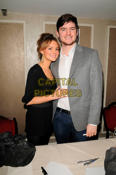 KARA TOINTON & JAMES ALEXANDROU.At the Mad Hatters Tea Party, Grosvenor House Hotel, Park Lane, London, England, January 20th 2008..half length black dress grey suit jacket white shirt beard.CAP/CAN.©Can Nguyen/Capital Pictures