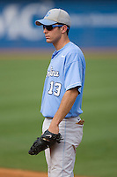 First baseman Dustin Ackley #13 of the North Carolina Tar Heels on defense versus the Clemson Tigers at Durham Bulls Athletic Park May 23, 2009 in Durham, North Carolina. The Tigers defeated the Tar Heals 4-3 in 11 innings.  (Photo by Brian Westerholt / Four Seam Images)