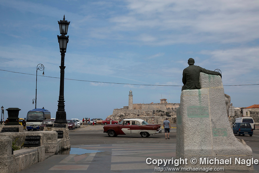 HAVANA, CUBA -- MARCH 24, 2015:   A view of Castillo De Los Tres Reyes Del Morro (Fort of the Three Kings) in Havana, Cuba on March 24, 2015. Photograph by Michael Nagle