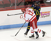 Nikolas Olsson (BU - 13), Ryan Cook (Merrimack - 2) - The visiting Merrimack College Warriors defeated the Boston University Terriers 4-1 to complete a regular season sweep on Friday, January 27, 2017, at Agganis Arena in Boston, Massachusetts.The visiting Merrimack College Warriors defeated the Boston University Terriers 4-1 to complete a regular season sweep on Friday, January 27, 2017, at Agganis Arena in Boston, Massachusetts.