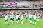 Stockholm 2014-06-08 Fotboll Superettan Hammarby IF - Landskrona BoIS  :  <br /> Hammarbys spelare jublar tillsammans med Hammarbys supportrar efter matchen <br /> (Foto: Kenta J&ouml;nsson) Nyckelord:  Superettan Tele2 Arena Hammarby HIF Bajen Landskrona BoIS jubel gl&auml;dje lycka glad happy
