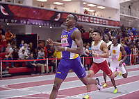 NWA Democrat-Gazette/BEN GOFF @NWABENGOFF<br /> Michael Cherry of LSU beads Obi Igbokwe of Arkansas in their heat in the 400 meter dash invitational Friday, Feb. 10, 2017 during the Tyson Invitational at the Randal Tyson Track Complex in Fayetteville. Cherry won the event with a time of 45.84 seconds and Igbokwe placed second at 46.16 seconds.