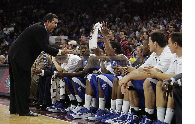 UK head coach John Calipari yells Darnell Dodson after he missed a lay up during the second half of their first  loss of the season,68-62, to the Gamecocks at Colonial Life Arena on Tuesday, Jan. 26, 2010. Photo by Britney McIntosh | Staff