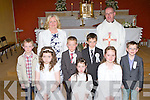 Clogher NS pupils who received their First Holy Communion in Clogher church on Saturday morning front row l-r: Katelyn O'Connell, Ella Scanlon, Rebecca Daly. Back row: Matthew Blennerhassett, James Kenny, Mark O'Connor and Ruairi Mannix..