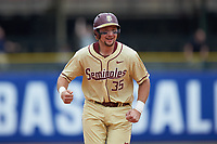 Cal Raleigh (35) of the Florida State Seminoles rounds the bases as he scores on a home run by Drew Mendoza (not pictured) during the game against the North Carolina Tar Heels in the 2017 ACC Baseball Championship Game at Louisville Slugger Field on May 28, 2017 in Louisville, Kentucky. The Seminoles defeated the Tar Heels 7-3. (Brian Westerholt/Four Seam Images)