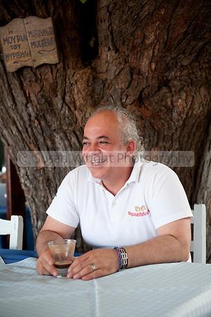 Vangelis Stylianou, owner of Myrivili's Mulberry Tavern in Skala Skamnias, Lesbos, Greece