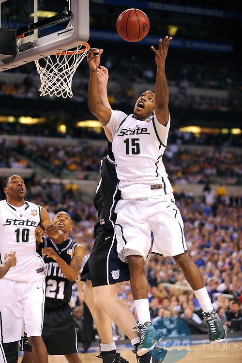 3 APR 2010: Durrell Summers (15) grabs a rebound during the semi final game of the Men's Final Four Basketball Championships held at Lucas Oil Stadium in Indianapolis, IN. Butler University went on to defeat Michigan State University 52-50 to advance to the championship game. Ryan McKee/NCAA Photos