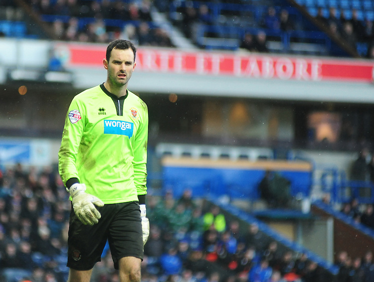 Blackpool's Joe Lewis<br /> <br /> Photographer Andrew Vaughan/CameraSport<br /> <br /> Football - The Football League Sky Bet Championship - Blackburn Rovers v Blackpool - Saturday 21st February 2015 - Ewood Park - Blackburn<br /> <br /> &copy; CameraSport - 43 Linden Ave. Countesthorpe. Leicester. England. LE8 5PG - Tel: +44 (0) 116 277 4147 - admin@camerasport.com - www.camerasport.com