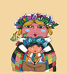 Illustration of mother and son in tribal wear over colored background