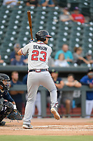 First baseman Griffin Benson (23) of the Rome Braves bats in a game against the Columbia Fireflies on Tuesday, June 4, 2019, at Segra Park in Columbia, South Carolina. Columbia won, 3-2. (Tom Priddy/Four Seam Images)